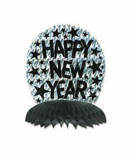 """Beistle Silver Prismatic Happy New Year Centerpiece Party Decoration 10"""""""