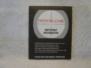 REDFIELD SCOPES  owner manual