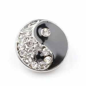 Ying Yang Black White Snap Button Charm Jewelry Piece, 18mm Alloy Metal