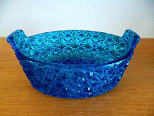 "Blue Colored Glass Bowl Daisy & Button Pattern  Oval        4 1/2""  x   6 3/4"""