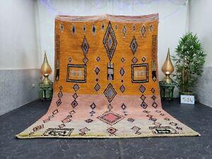 "Moroccan Boujaad Handmade Rug 7'x9'8"" Berber Geometric Orange Peach Wool Carpet"