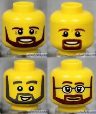 LEGO - 4x Male Heads Lot - Yellow Angular Faces Beard Goatee Moustache Glasses