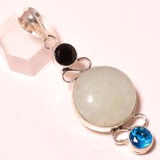 Chalcedony, Blue Topaz and Black Onyx 925 Stamped Pendant Jewelry 2.7 Inch 5339