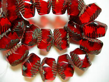 6 - 10x14mm Ruby Red Picasso Czech Wavy Rondelle beads