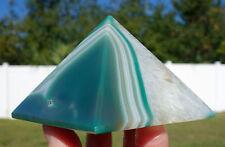 Green & White AGATE Crystal Healing Pyramid Point Reiki Super Brazil Quartz