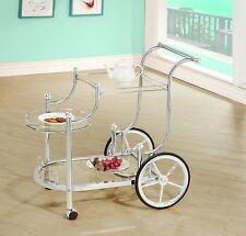 Tea Bar Cart Trolley Serving Utility Rolling Wheels Kitchen Metal Glass Silver