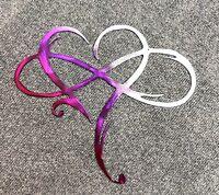 "Infinity Heart Metal Art-Always & Forever Infinity  10 3/4"" x 12 1/4"" Fuchsia"