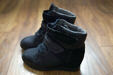 Next Black Wedge Heel Ankle Sneaker Boots Size 5 / Eur 38 Leather Quilted inner