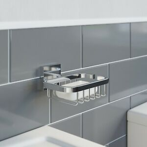 Bathroom WC Soap Dish Holder Chrome Square Wall Mounted Stylish Modern