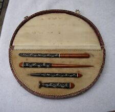 Unusual Old JAPANESE LACQUER PEN & ACCESSORIES SET-In Fitted BOX-NR