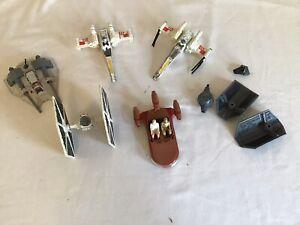 Star Wars Lot of 6 Vintage Die Cast Ships X-wing Tie Fighter Land Snow Speeder