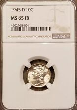 1945-D Mercury Dime, NGC MS65 FB, Full Bands