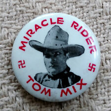 """RARE VINTAGE TOM MIX MIRACLE RIDER MOVIE SERIAL BUTTON 1935 1 1/4"""""""