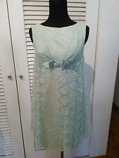 60s VINTAGE TWIGGY STYLE GREEN CREPE MINi DRESS WITH LACE OVERLAY SATIN RIBBON S