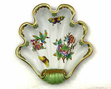 Herend Shell Dish Hand Painted Hungary Butterflies Flowers Gold Trim Scallop