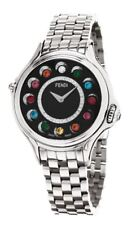 NEW Fendi Women's F107021000D2T05*CrazyCarats*Black Diamond Dial Stainless Steel