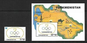 TURKMENISTAN Sc 50-51 NH issue of 1994 - 1V+S/S - OLYMPICS