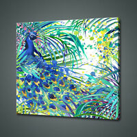 BEAUTIFUL PEACOCK WATERCOLOUR PAINT STYLE CANVAS PRINT WALL ART PICTURE PHOTO