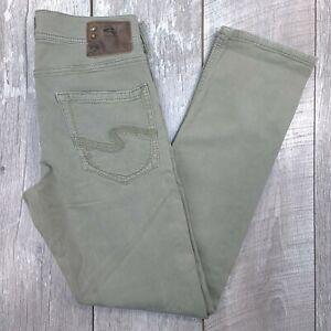 Silver Jeans Eddie EMC Mens 29x32 Green Wash Mid Rise Straight Leg J18