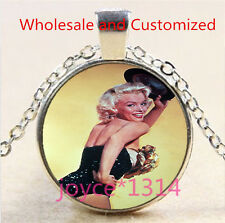 Marilyn Monroe Cabochon Tibetan silver Glass Chain Pendant Necklace #5052