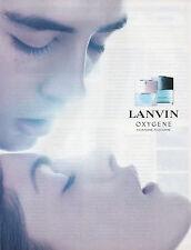 Publicité Advertising 2002  Parfum  OXYGENE pour homme , pour femme  LANVIN