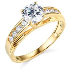 2.30 Ct Round Brilliant Cut Engagement Wedding Ring Trellis Real 14K Yellow Gold