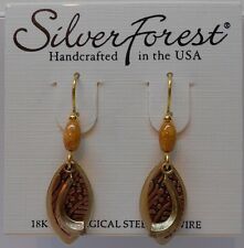 Silver Forest Beautiful 3 Layer Glitter n Textured Gold Tone Hook Earrings