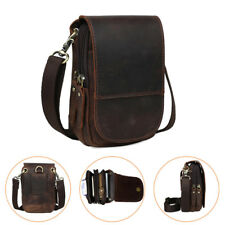 Herren Leder Messengertasche Gürteltasche Klein Tasche Bauchtasche Hüfttasche