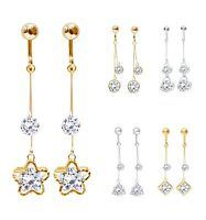 Crystal Drop Dangle Clip On Earrings Tassel Non Pierced Different Designs