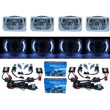 "4X6"" White LED Halo Projector Headlight 6K 6000K HID Headlamp Light Bulbs Set"