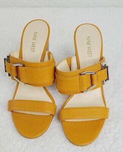 New Nine West Funtimes 7.5 Orange Leather Stacked Wedge Open Toe Slip-On Sandal