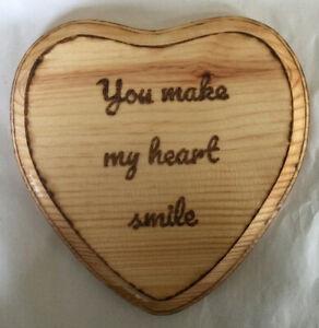 You Make My Heart Smile Sign By Wood Burning On A Heart Shaped  Stained Wood