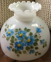 "10"" Student Lamp Milk Glass Shade with Painted Blue Floral Design"