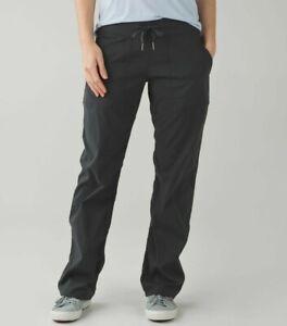 Lululemon Studio Pant in deep coal, stripe, drawstring waist, 2