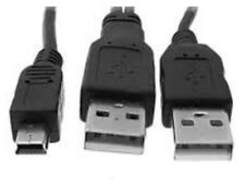 USB Dual Power Y Shape 2X Type A - Mini B Cable Lead Portable Hard Drive UK C004