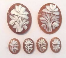 ANTIQUE VINTAGE CAMEO- FLOWER SARDONYX .JEWELRY. LOT OF 6. *RARE* (SIZE=MIXED)