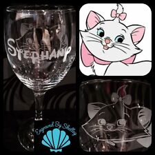 Personalised Disney Marie Aristocats Cat Wine Glass! Handmade Any Name Engraved