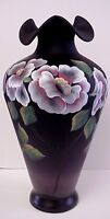 Fenton Moonlit Poppies on Black Satin Vase Platinum Colection Scott Fenton Sig