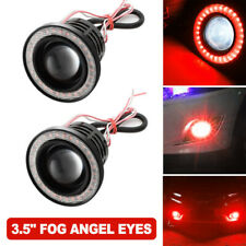 "3.5"" 89MM COB LED Projector Angel Eye Light Halo Ring Fog Driving Lamp Car Red"