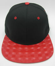 Black Blank Snapback Cap Hat Red Hologram Visor Hip Hop Streetwear Caps Hats NWT
