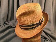 Dobbs Milan Straw Fedora Honey Color w/ Classy Ribbon Men's Vintage Hat Size  7
