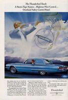 1966 Ford PRINT AD Blue Thunderbird 2 Door Landau Hardtop Great Man Cave Decor