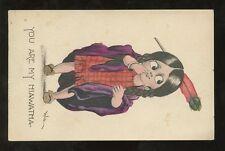 ARTIST BERNHARDT WALL 1912 PPC HIAWATHA GIRL SQUAW