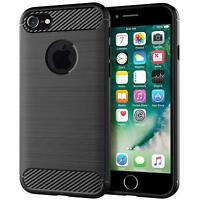 For iPhone 5 5S SE Carbon Fibre Soft Protective Shockproof Case Cover Black