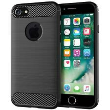 For iPhone 5 5S SE Carbon Fibre Soft Protective Shockproof Case Cover Black