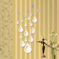 Removable Mirror Decal Water Drop Shape Wall Stickers DIY Home Bedroom Decor