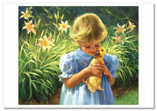 Little Girl hug Duckling Friends Garden Bird Duck Russian Modern Postcard