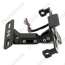 Black CNC License Plate Mount Holder Bracket LED Flash Light Fender Eliminator