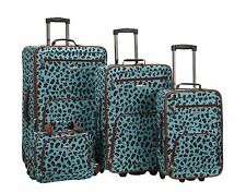4 Piece Luggage Set Polyester - Blue Leopard New