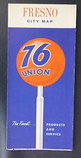 1966 Fresno street map Union 76  oil gas Califirnia
